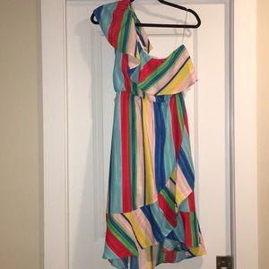 Peach Love one shoulder rainbow midi dress